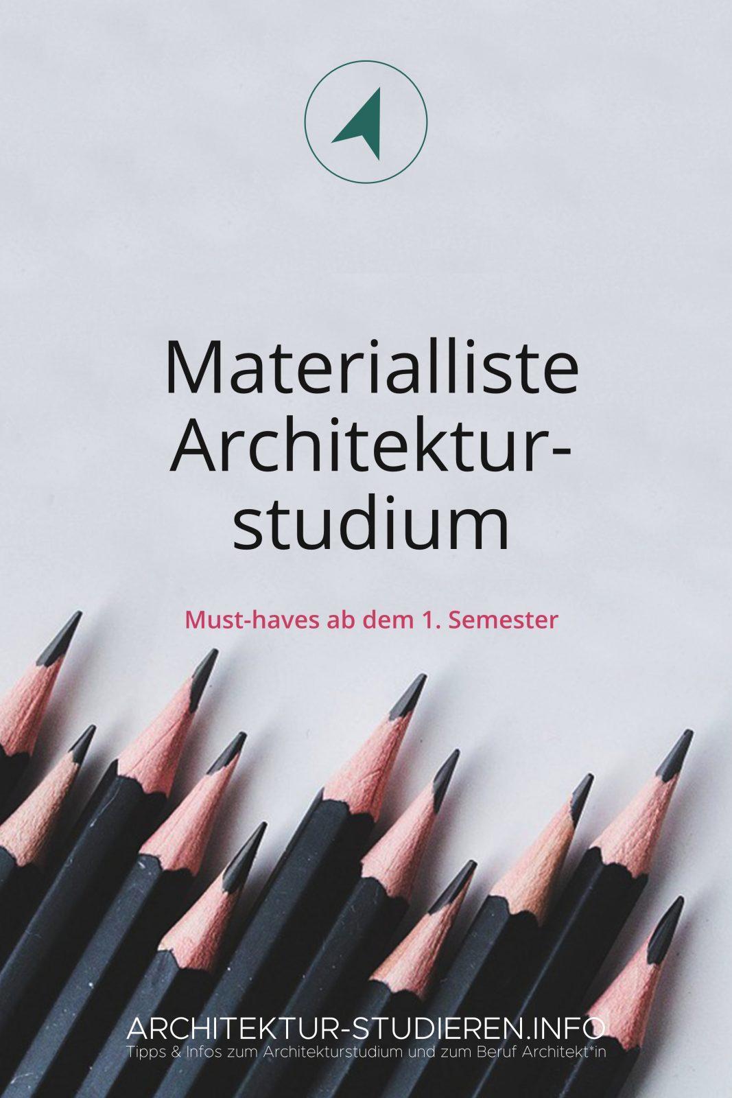 Materrialliste für dein Architekturstudium 2019/2020 | © Architektur-studieren.info