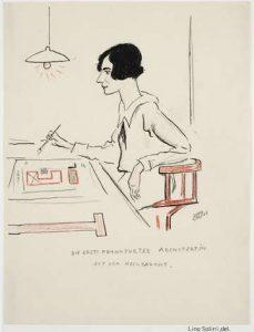 Bildnis im Sitzen nach links der Grete Schütte-Lihotzky   von Lino Salin