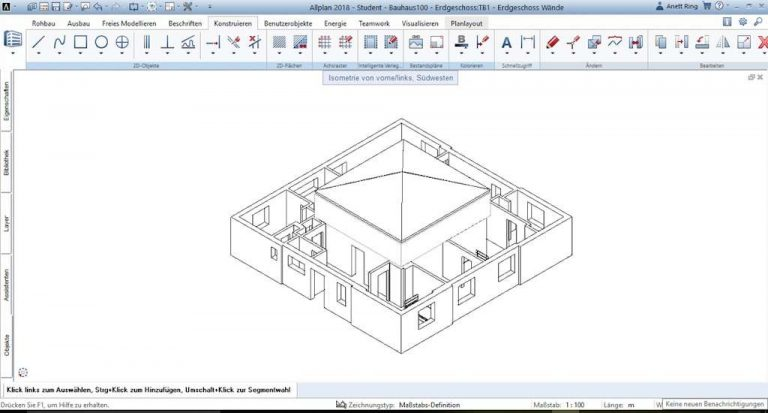 Allplan 2018: Isometrie, zum Überprüfen des neu angelegten Daches