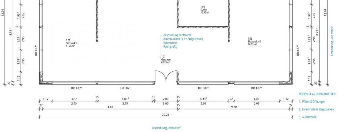 Einführung ins Technische Zeichnen: Bemaßung | © Anett Ring, Architektur-studieren.info