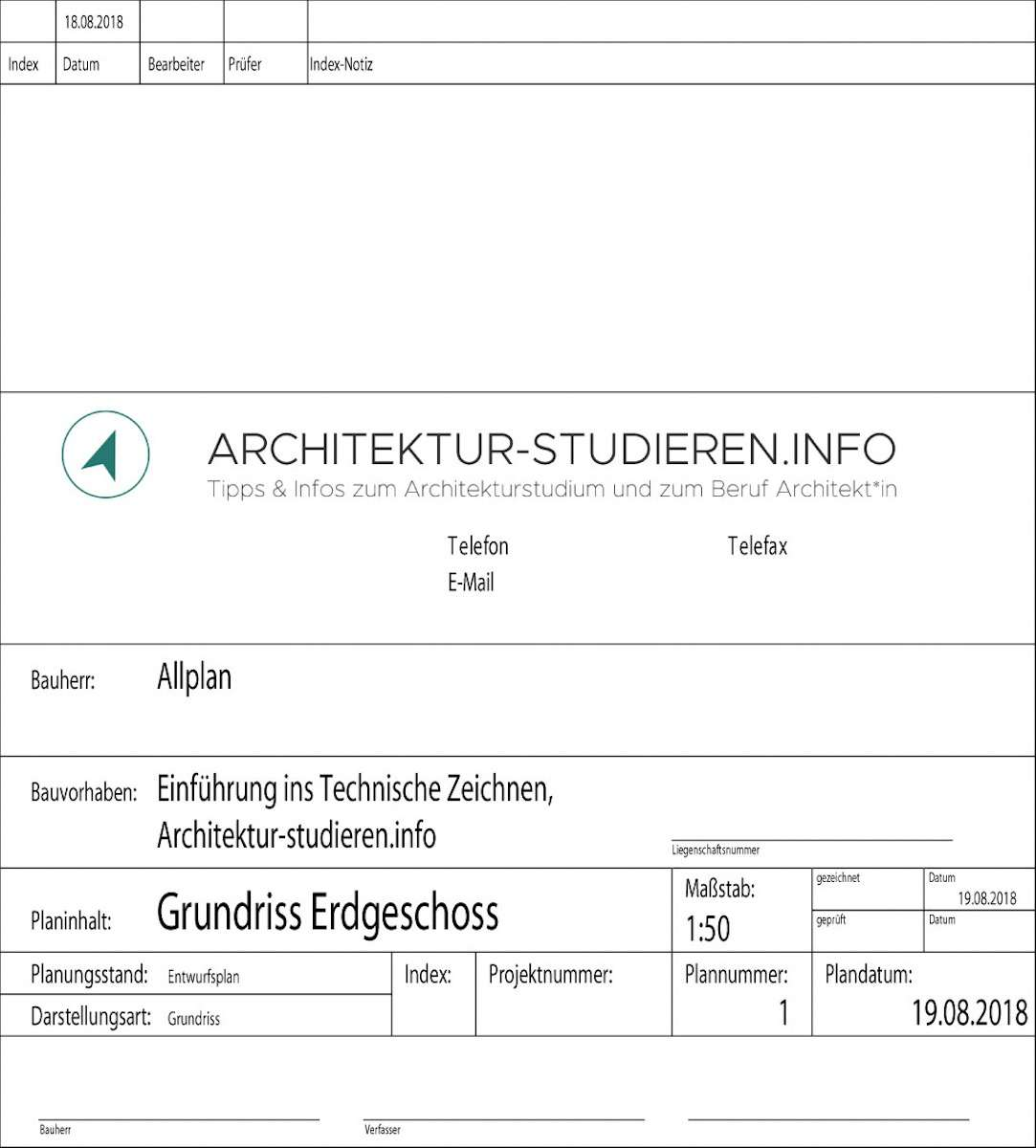 Technisches zeichnen plankopf und legende architektur Wo architektur studieren