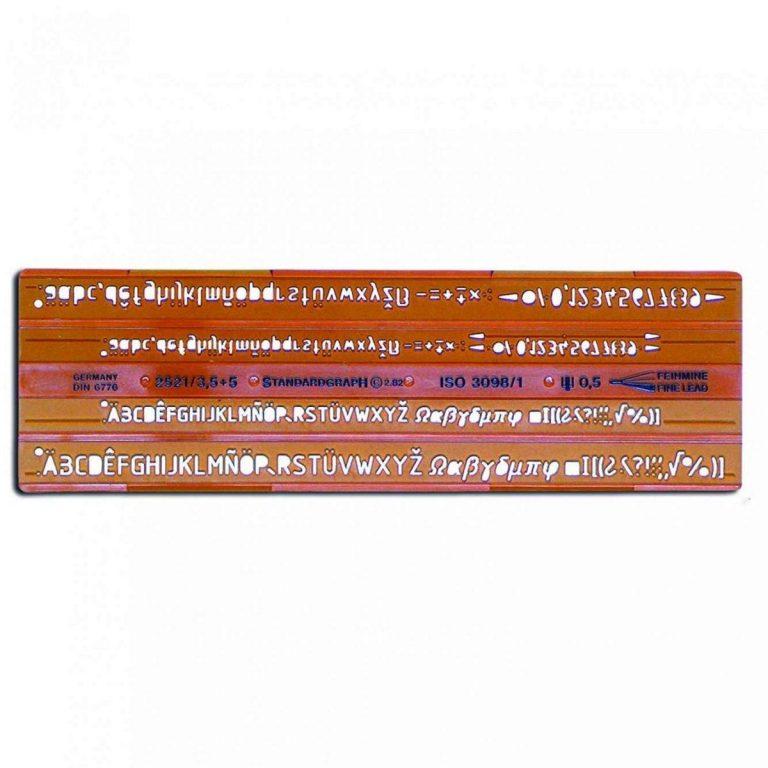 Schriftschablone fürs Technische Zeichnen Architektur | vorgestellt auf Architektur-studieren.info