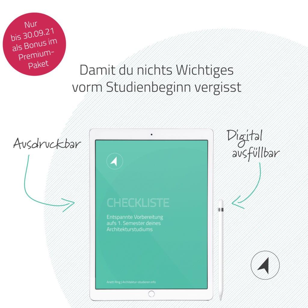 Angebot bis 30.09.: Studienführer Architektur im Premium-Paket u.a. mit Checkliste zur Vorbereitung aufs Architekturstudium | © Anett Ring, Architektur-studieren.info