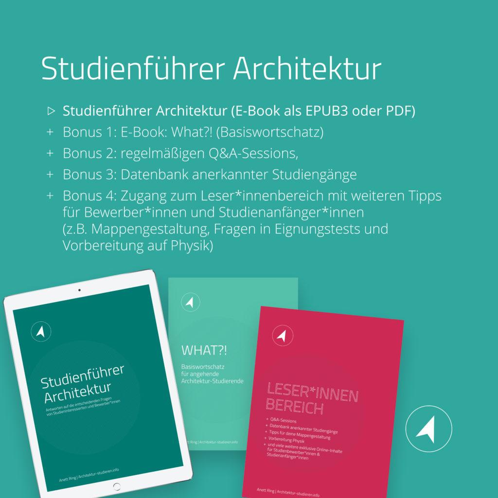 Studienführer Architektur 2021 2022 mit hilfreichen Boni für Studieninteressierte | © Anett Ring, Architektur-studieren.info