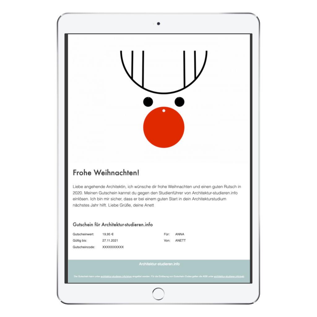 Geschenkidee Weihnachten Architekturstudium | Meine Empfehlung: Gutschein für Studienführer Architektur für Studienanfänger*in | © Anett Ring, Architektur-studieren.info