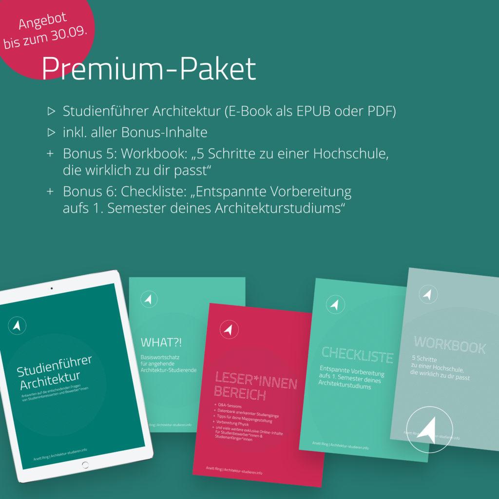 Angebot bis 30.09.: Studienführer Architektur im Premium-Paket mit Checkliste und Workbook | © Anett Ring, Architektur-studieren.info