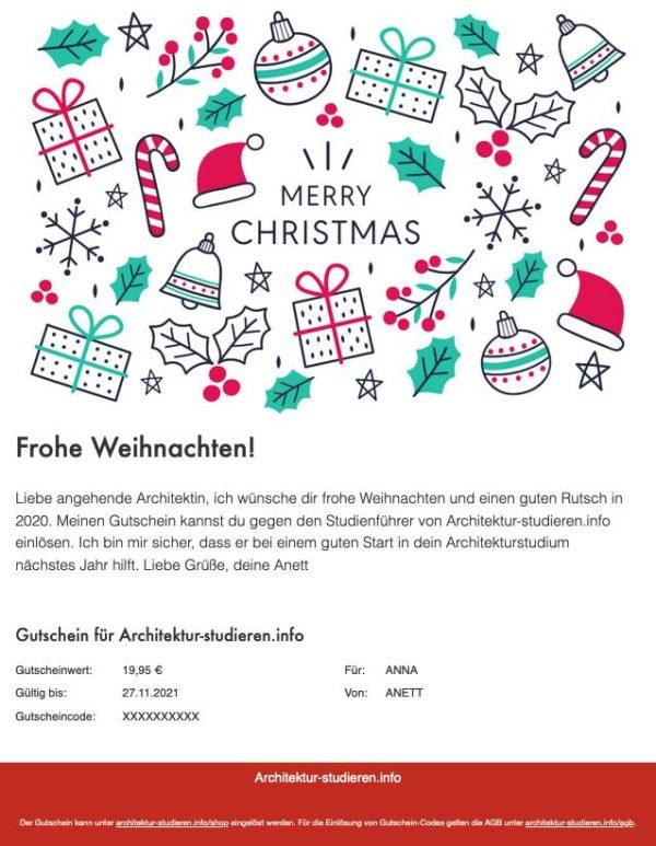 Geschenkidee Weihnachten Architekturstudium | Meine Empfehlung: Gutschein für Studienführer Architektur für Studienanfänger*in, Architektur-studieren.info