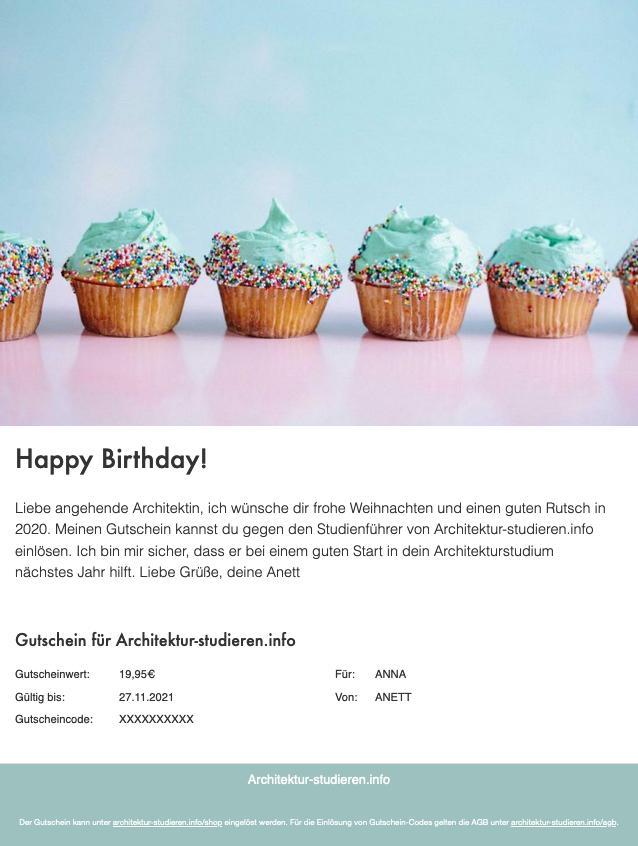 Geschenkidee Geburtstag Architekturstudium | Meine Empfehlung: Gutschein für Studienführer Architektur für Studienanfänger*in, Architektur-studieren.info