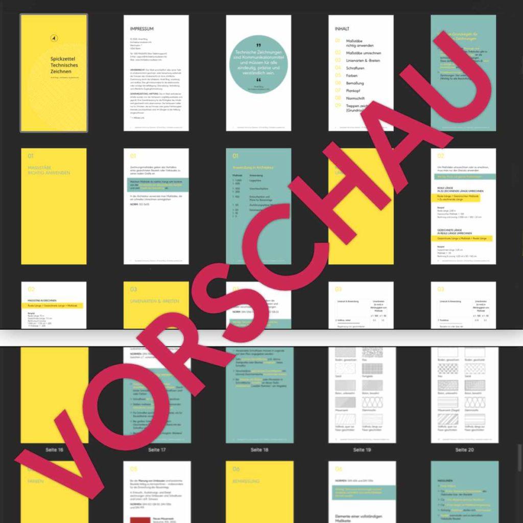 Seitenvorschau Spickzettel Technisches Zeichnen | © Anett Ring, Architektur-studieren.info