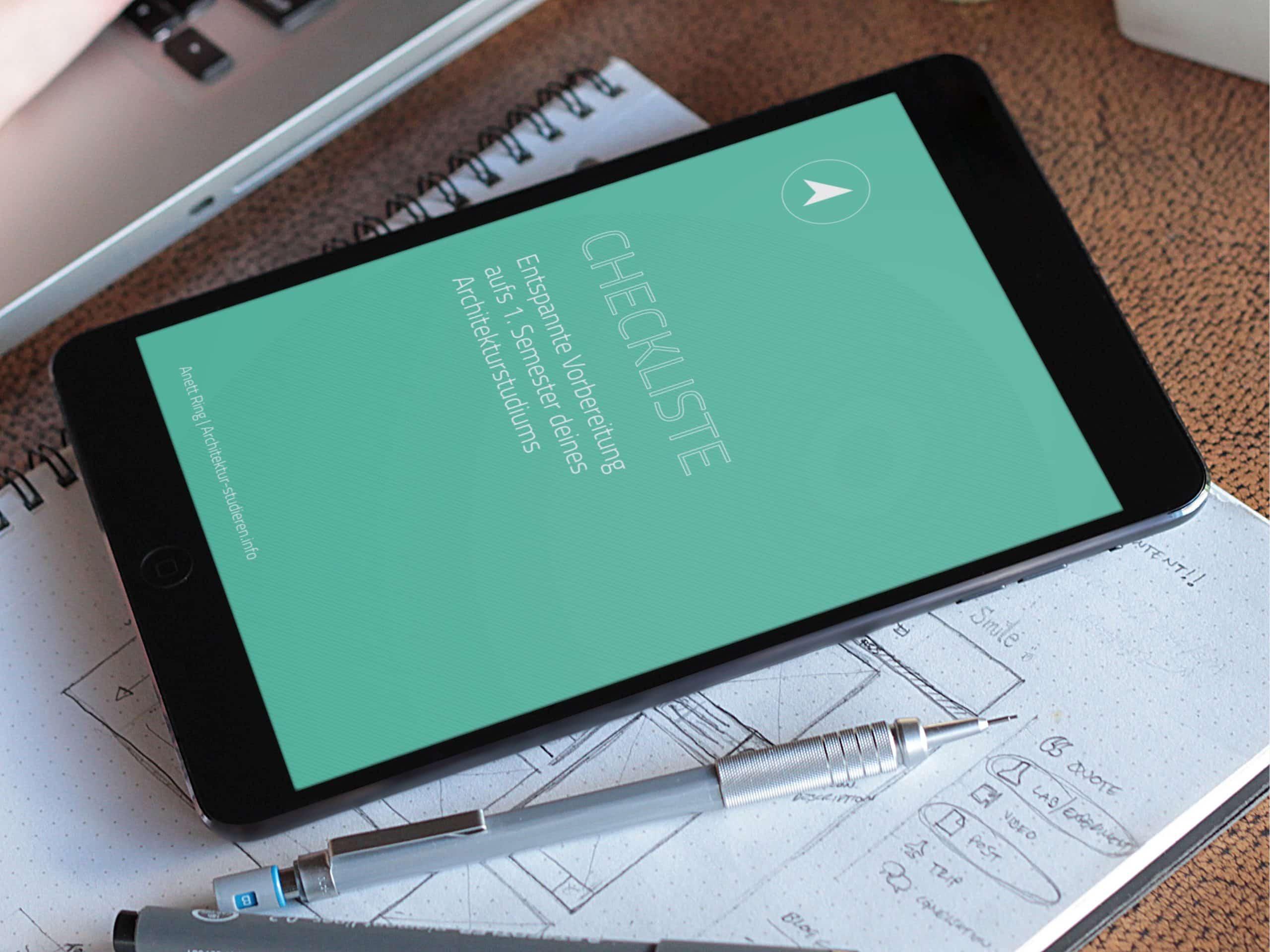 Entspannte Vorbereitung Architekturstudium   Checkliste 1. Semester Architekturstudium   © Anett Ring, Architektur-studieren.info